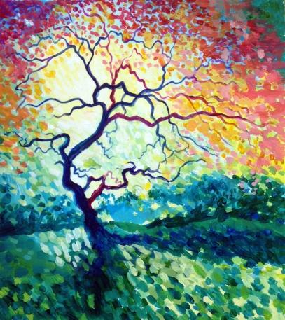 acrylic impressionistic tree
