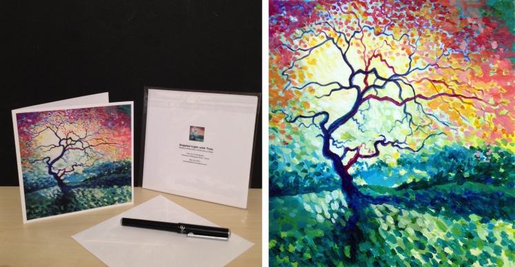 dappled tree card with image